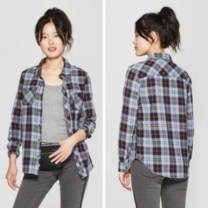 Junk Food Clothing Plaid Flannel Button-Down Top